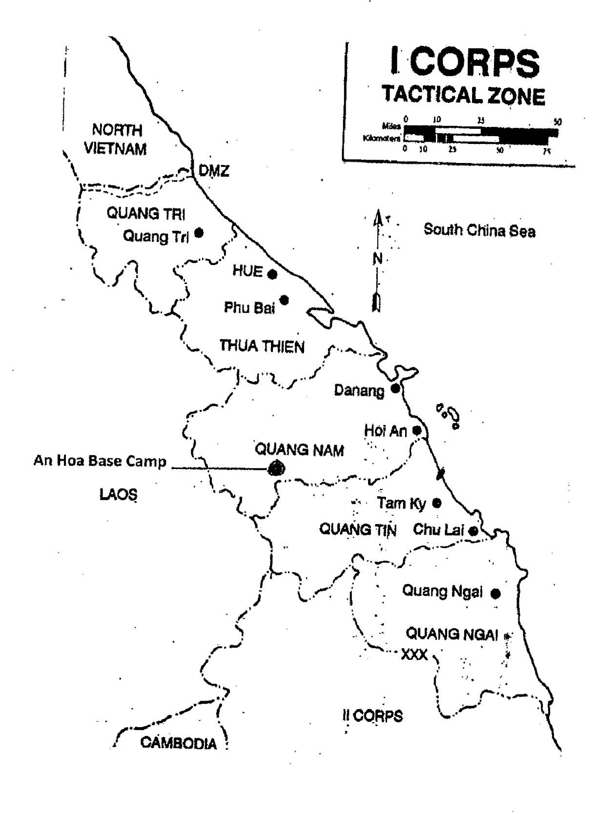 I Corps Tactical Zone map denoting locations of An Hoa base camp, Laos, Cambodia, and the DMZ. The author operated in the top three providences during his tours