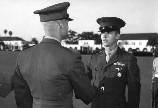 Author receiving Navy Commendation Medal during ceremony at the Marine Corps Recruit Depot in San Diego, CA. 1970