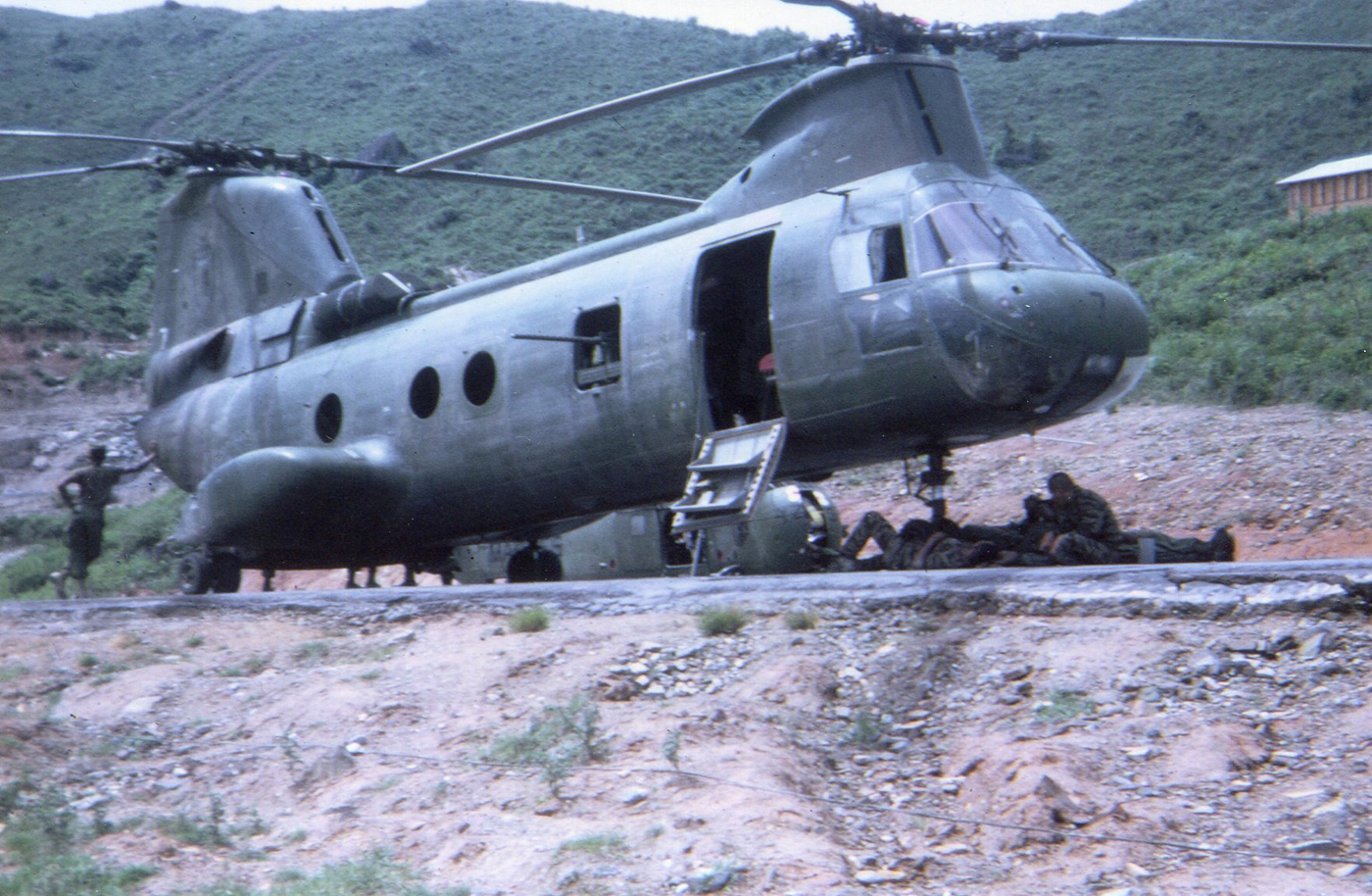 CH46 Sea Knight staged on LZ during Rough Rider duty – photo taken in December 1967
