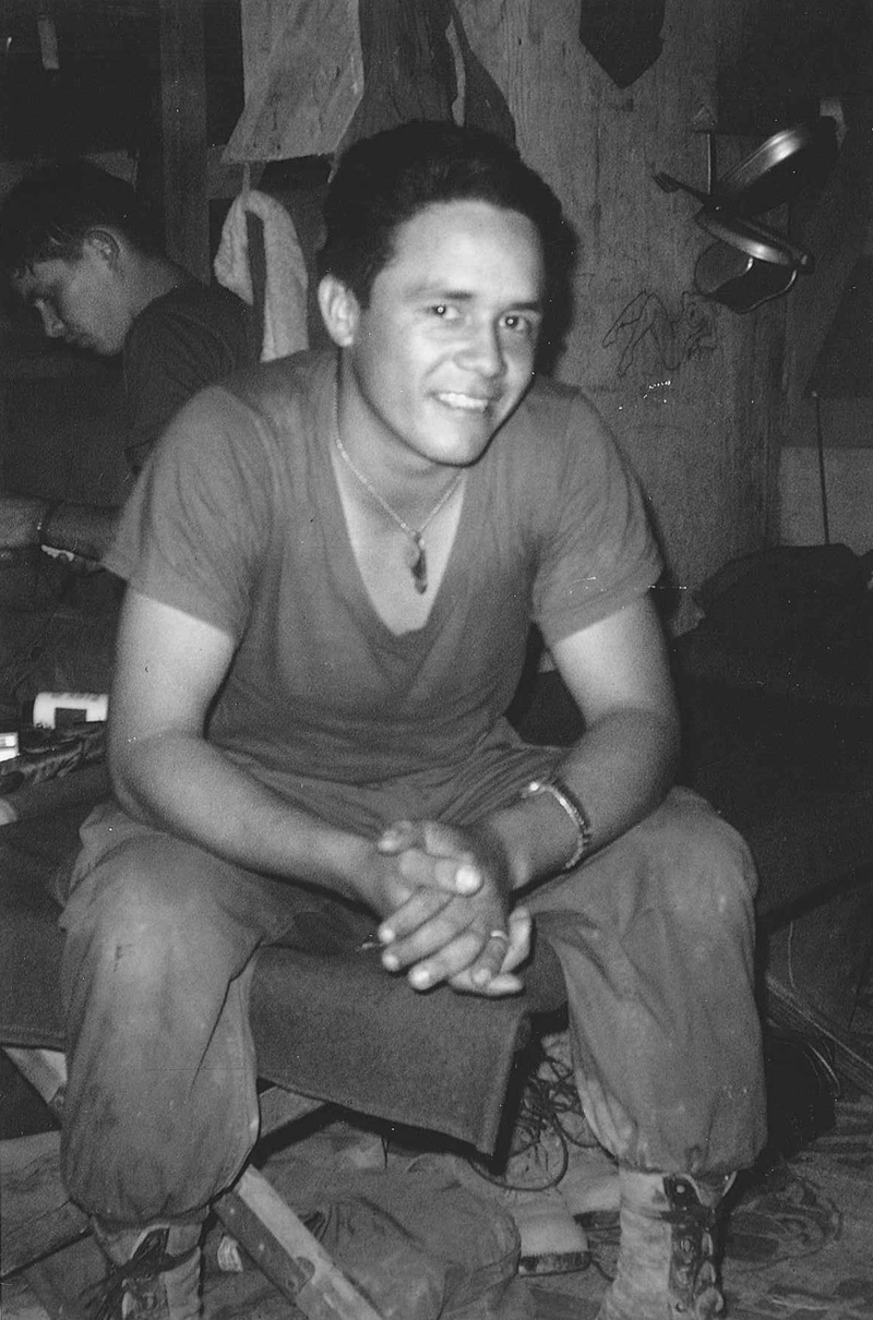 Lance Corporal Larry Soliz (WIA April 1968) – photo taken in our squad tent at An Loc in December 1967
