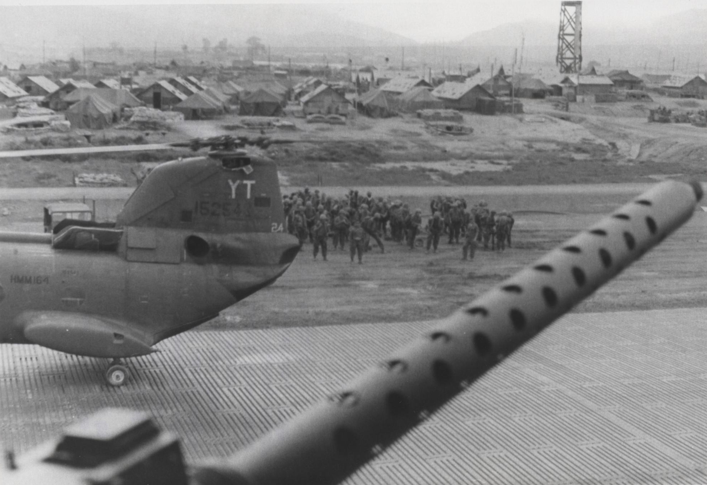 Fifth Marines staging to board CH46 choppers to begin Operation Meade River – photo taken in November 1968