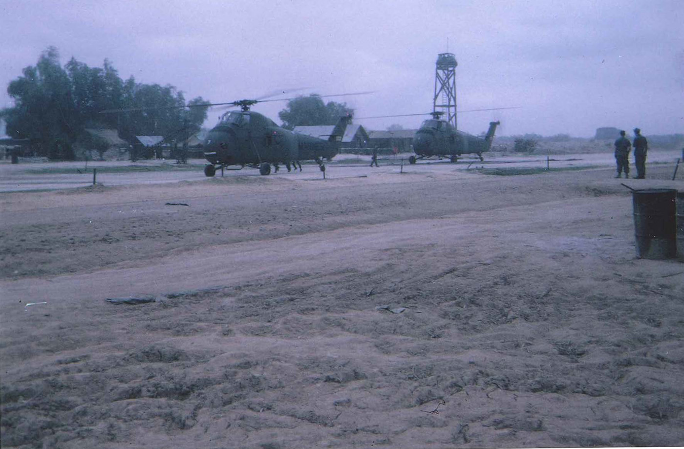 Two CH34 Sikorsky choppers on pad at An Loc – photo taken on day of arrival in November 1967