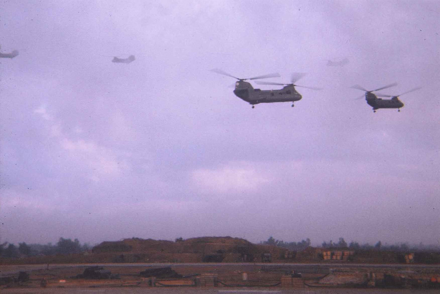 CH46 Sea Knight choppers aligning for assault after liftoff at the beginning of Operation Meade River – photo taken in November 1968