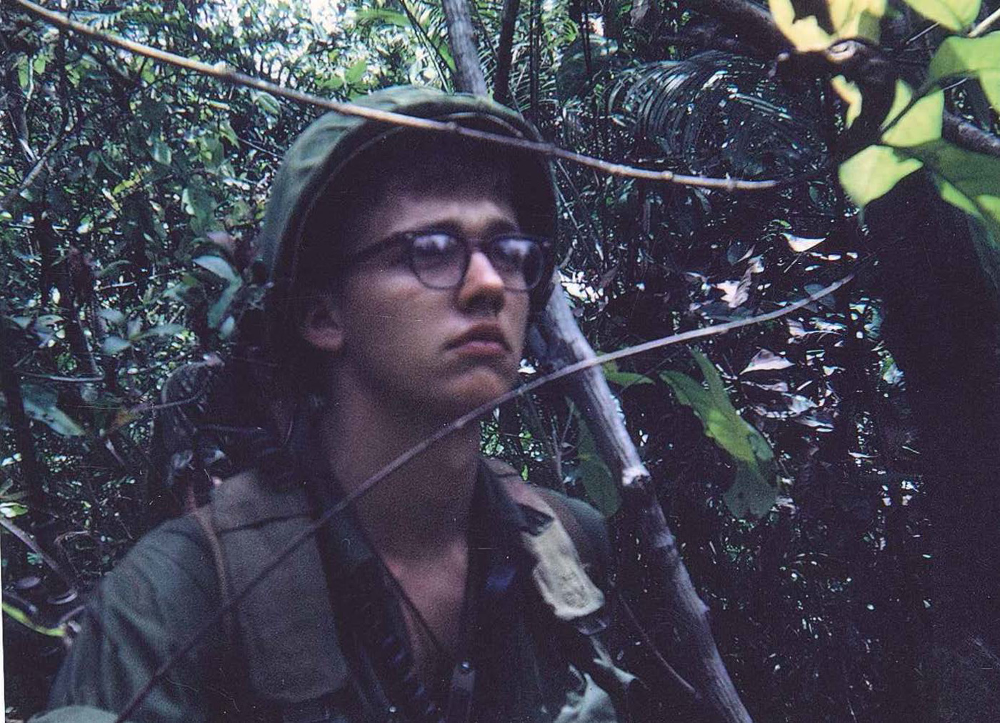 Author – on patrol in mountain canopy near Hill 90 - photo taken in February 1968