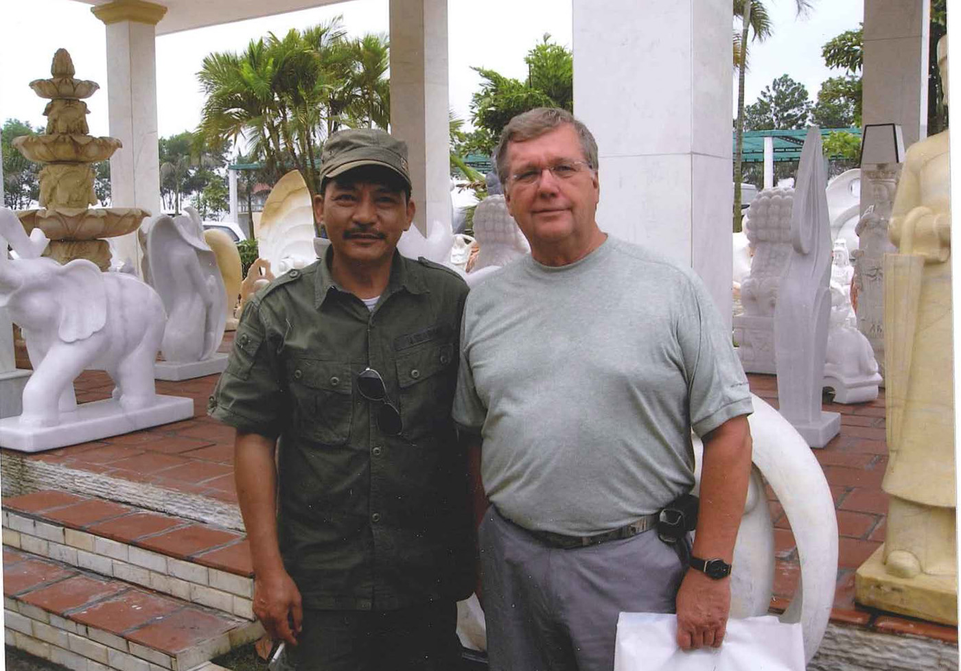 Author with former NVA soldier at tourist site near Phu Bia – photo taken in March 2013