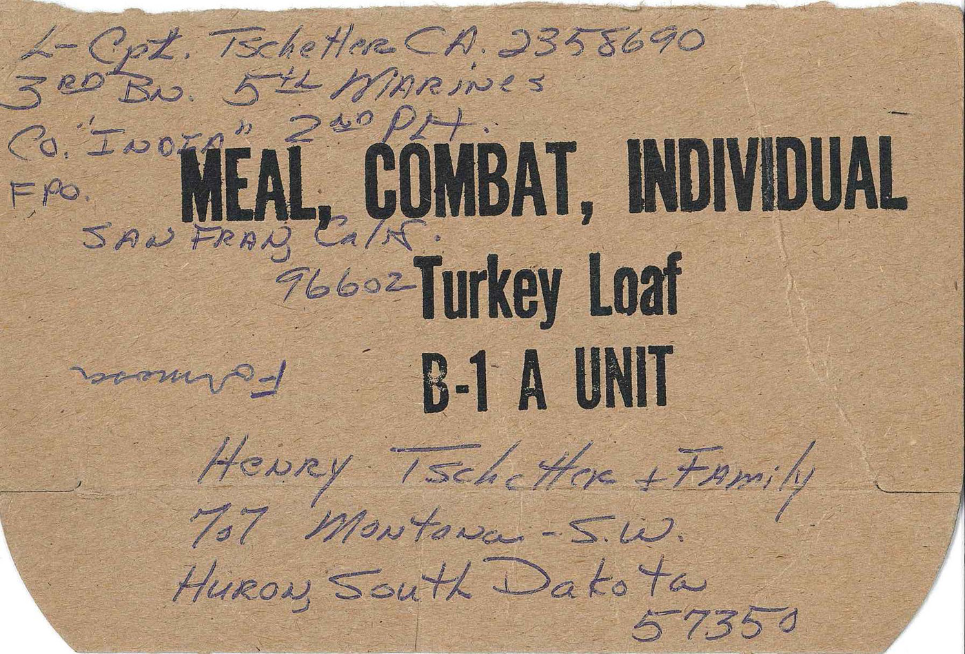 C-ration box top marines used to write letters home – my mother saved everyone and numbered them when they arrived