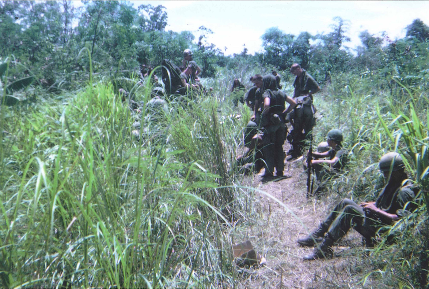 India company marines on June 16, 1968 the day after short round incident – photo taken just prior to moving up the trail we got shot out of the day before